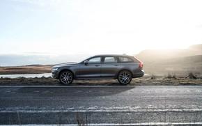 Обои Car, Volvo, Универсал, Drive, Road, 2017, Silver, V90, Cross Country