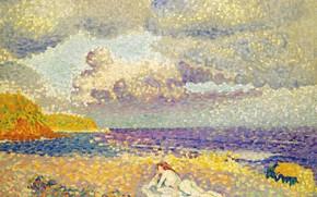 Картинка море, эротика, девушка, пейзаж, тучи, картина, Henri Edmond Cross, пуантилизм, Анри Кросс, Перед Грозой