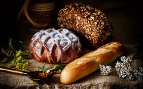 Картинка хлеб, ложка, выпечка, батон
