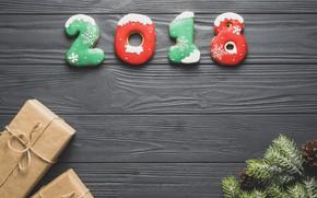 Картинка праздник, новый год, ель, печенье, цыфры