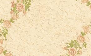 Обои листья, фон, розы, текстура, бежевый, цветьы