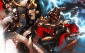 Обои Тор, Thor, Леди Локи, Бальдер, марвел, Marvel Comics, комикс, Odin, Один, Lady Loki