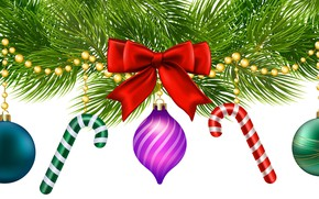 Картинка украшения, шары, игрушки, елка, Новый год, бусы, бант
