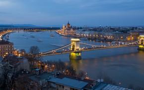 Картинка Венгрия, парламент, мост, ночь, панорама, Будапешт, Дунай