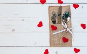 Картинка любовь, сердце, ложка, сердечки, love, вилка, heart, wood, romantic, Valentine's Day, сервировка