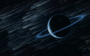 Обои кольцо, звезды, космос, планета