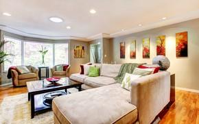 Картинка мебель, диван, стол, свет, окно, room, design, картины, особняк, living, гостиная, дизайн