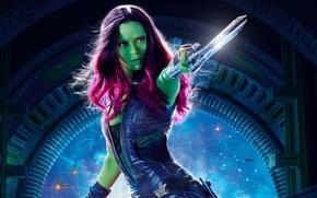 Картинка фантастика, постер, Зои Салдана, Zoe Saldana, Gamora, Гамора, Guardians of the Galaxy Vol. 2, Стражи …