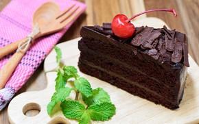 Обои пирожное, chocolate, крем шоколад, мята