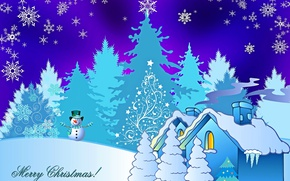 Картинка зима, снег, дом, праздник, елка, Рождество, снеговик, снежинка, открытка