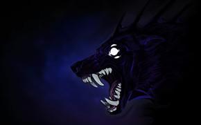 Картинка глаза, монстр, клыки, зверь, оборотень