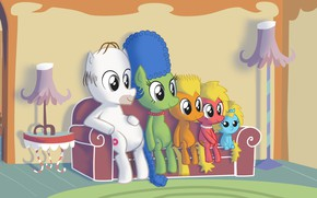 Картинка Симпсоны, Рисунок, Гомер, Мэгги, Maggie, Simpsons, Арт, Art, Лиза, Мультфильм, My Little Pony, The Simpsons, ...