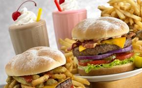 Картинка картофель фри, фаст-фуд, бургеры, шейк