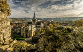Картинка высота, HDR, собор, Великобритания, храм, Sky, United Kingdom, Stones, Temples, Rochester Cathedral