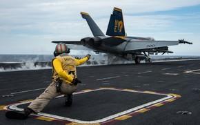 Картинка авианосец, палуба, взлет, Super Hornet, FA-18E