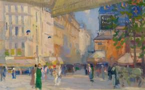 Картинка картина, городской пейзаж, Elie Anatole Pavil, Эли Анатоль Павиль, Парижская Улица