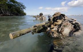 Картинка вода, автомат, бойцы, глушитель, Bundeswehr, Kommando