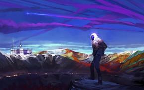 Картинка горы, огни, обрыв, объект, new place