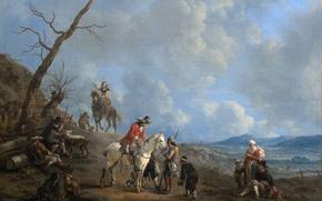 Картинка масло, картина, холст, Иоганн Лингельбах, Пейзаж с Всадниками Охотниками и Крестьянами