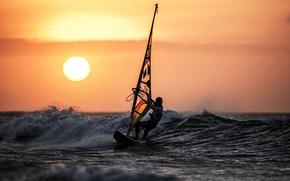 Обои закат, surfing, море