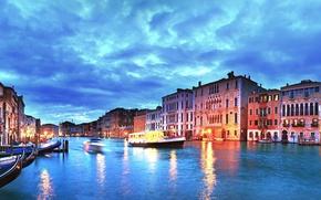 Картинка закат, city, город, огни, вечер, Италия, Венеция, канал, Italy, panorama, Europe, view, Venice, cityscape, travel, …