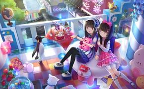 Картинка комната, девочки, игрушки