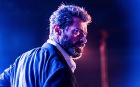 Обои cinema, Wolverine, Hugh Jackman, X-Men, Logan, blue, man, Marvel, face, hero, film, suit, mobile, yuusha