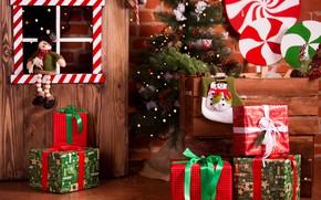 Картинка украшения, игрушки, елка, Новый Год, Рождество, подарки, домик, Christmas, design, wood, Merry Christmas, Xmas, interior, …