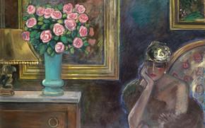 Картинка 1978, прекрасная незнакомка Snara, Jean-Pierre Cassigneul, неуловимое обаяние Франции, Интерьер с розами