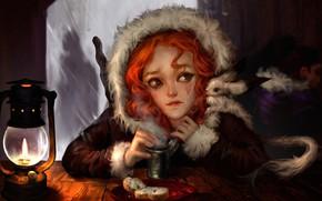 Картинка девушка, настроение, фэнтези, арт, слёзы, обед, кабак, Winter Tale, Ilse Harting
