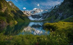 Картинка снег, отражения, горы, природа, озеро