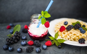 Картинка ягоды, малина, завтрак, черника, вафли, fresh berries