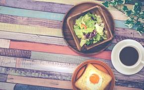 Обои салат, кофе, завтрак, breakfast, еда, яичница, тост