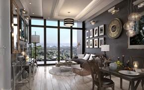 Картинка мебель, окно, люстра, помещение, TYPICAL LIVING & DINING AREA OPTION