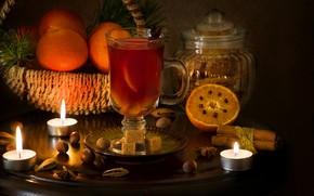 Обои апельсины, свеча, специи, глинтвейн