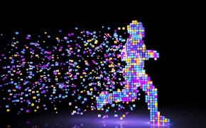 Картинка colors, colorful, figure, man, Pixel, rendering, digital art, artwork, running