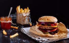 Картинка булочка, котлета, гамбургер, hamburger, соус, fast food, сэндвич, фастфуд, салат, tomatoes, картошка фри, meat