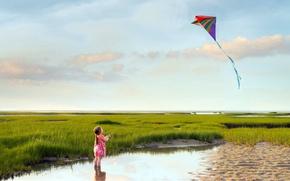 Картинка море, лето, ветер, берег, девочка, Go fly a kite