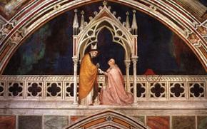 Картинка фреска, Сиенская школа живописи, Simone Martini, Освящение of часовня