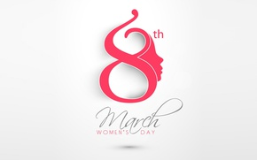 Картинка minimalism, holiday, date, calendar, March 8, Women's Day