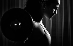 Обои white, black, female, fitness, workout