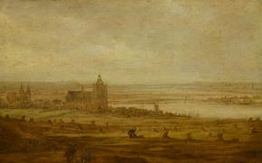 Картинка пейзаж, масло, картина, Ян ван Гойен, Вид Арнема