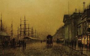 Картинка корабль, дома, картина, набережная, городской пейзаж, Джон Эткинсон Гримшоу, John Atkinson Grimshaw, Salthouse Docks. Liverpool
