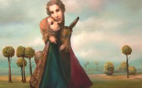 Картинка Сюрреализм, осёл, Лазарев И.А, мать и дочь