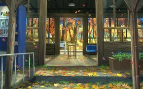 Картинка осень, листья, природа, крыльцо