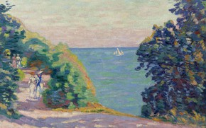 Картинка море, пейзаж, лодка, картина, парус, прогулка, Арман Гийомен, Armand Guillaumin, Августовский Вечер в Сен-Пале