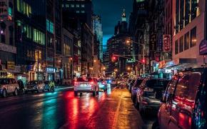 Обои ночь, огни, улица, Нью-Йорк, Манхеттен, New-York, Manhatten, чайнатаун