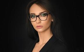 Картинка girl, green eyes, long hair, photo, photographer, background, model, bokeh, lips, face, brunette, glasses, black …