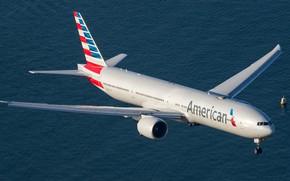 Картинка море, лето, небо, вода, большой, самолёт, sky, Боинг, airplanes, boeing, 777, пассажирский, boeing 777, 777-300ER, …