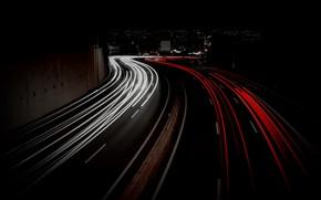 Картинка дорога, город, огни
